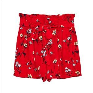 ZARA Red Floral Shorts